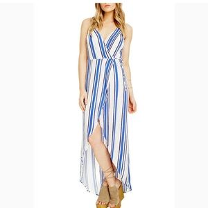 ASTR Donna Stripped Wrap Dress
